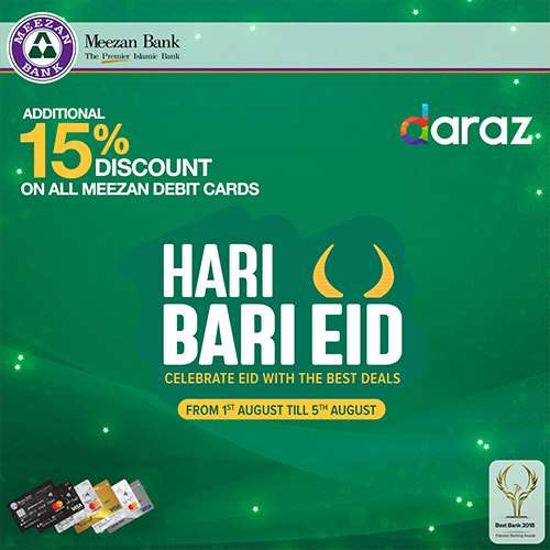 Daraz pk Offer by Meezan Bank: Additional 15% off (August 2019